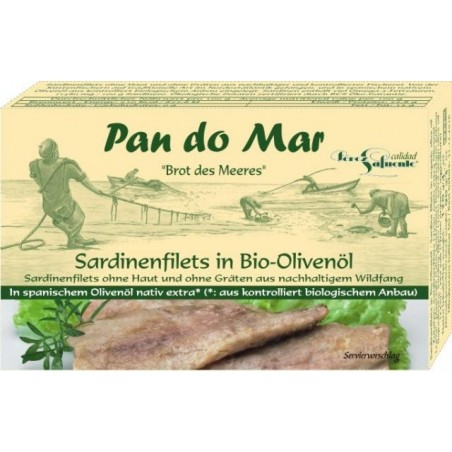 Sardine file in ulei de masline bio 120g Pan do Mar